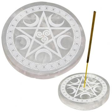 Selenite Round Incense Holder w/ Pentacle