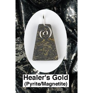 Healer's Gold Spiral Front Wire Wrap Pendant