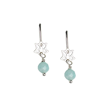 Amazonite Lotus Earrings for Courage