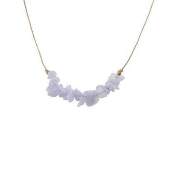 Blue Lace Agate Seed Necklace for Confidence